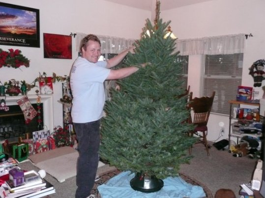 Audie putting up our first Xmas tree 2009